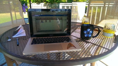 Working outside on my our deck today. One thing I miss about Long Island, private outdoor space!!!