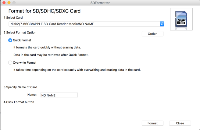 Choose the completely overwrite option and select a name for your card, this will take a while once you hit Format